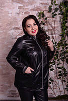 Куртка шкіряна з коміром стійка, з 48 по 82 розмір