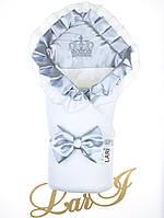 """Демисезонный конверт-одеяло """"Элегантность"""", белый/серый металлик"""