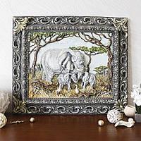Панно картина объемная Семья слонов Гранд Презент КР 906 цветная