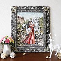 Картина объемная Девушка с лошадью КP 902 цветная
