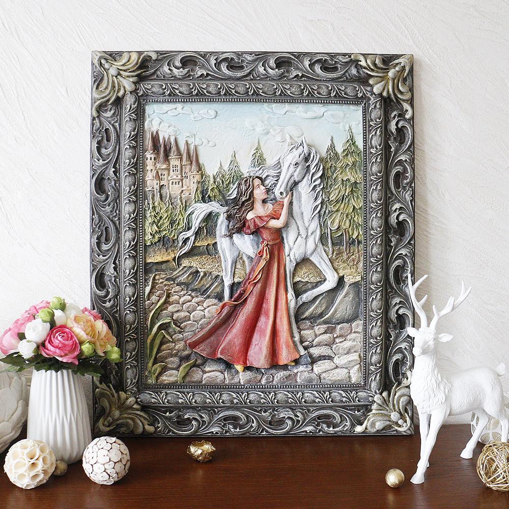 Картина объемная Девушка с лошадью КP 902 цветная, фото 1
