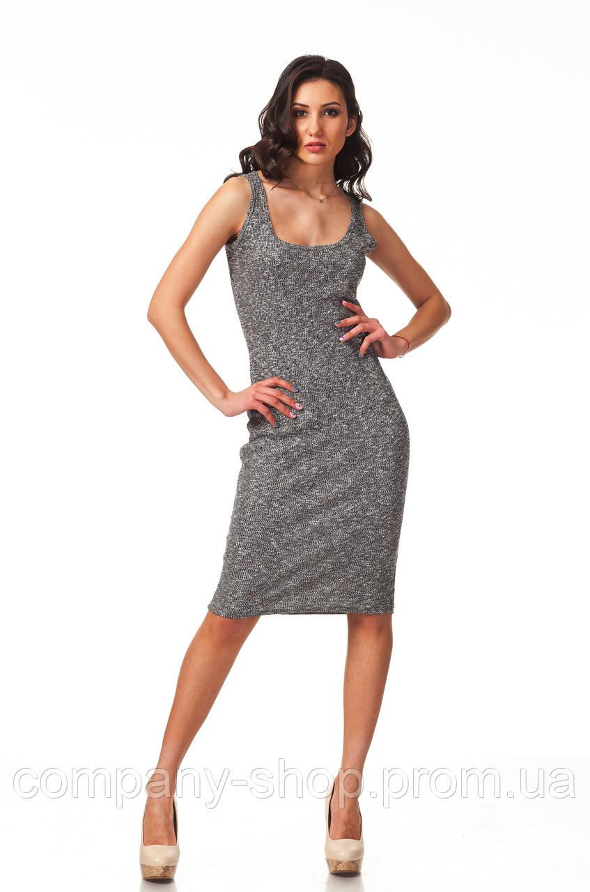 Летнее платье-майка вязаное. Модель П088_вязка черная.