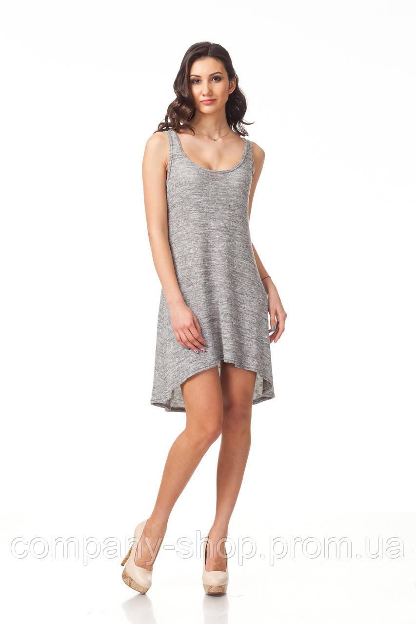 Летнее пляжное вязаное платье. Модель П091_вязка серая.
