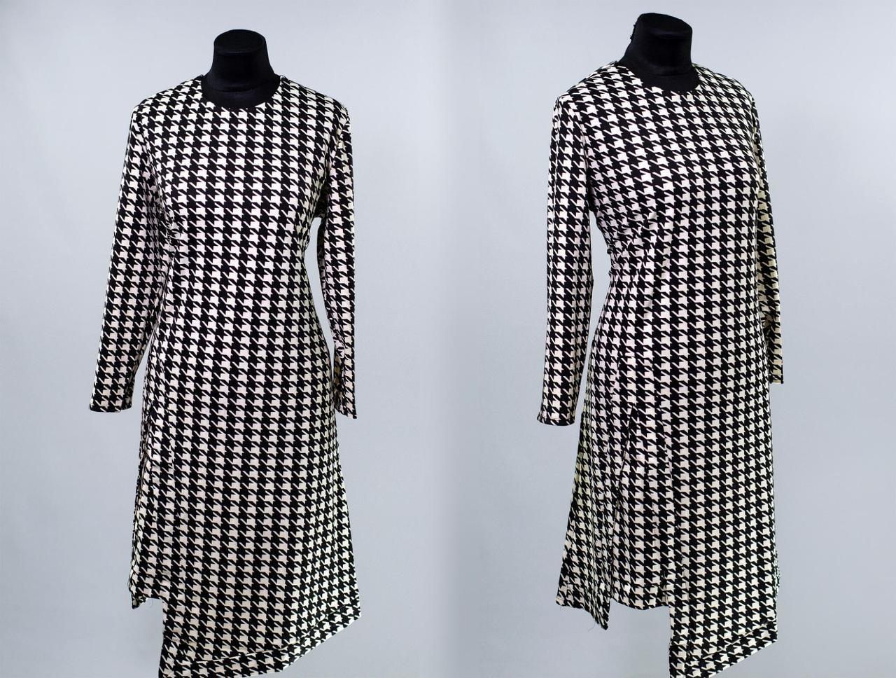 """Стильное женское платье асимметрия, ткань """"Французский трикотаж"""" 48, 52 размер батал"""