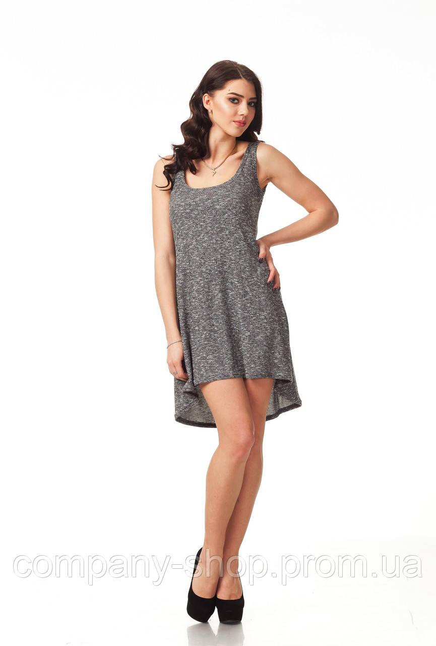 Летнее пляжное вязаное платье. Модель П091_вязка черная.
