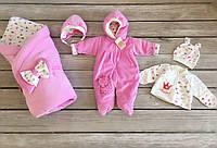 """Велюровый, теплый набор на выписку  """"Princess"""" розовый, фото 1"""