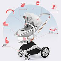 Оригинальная детская коляска 2в1 Hot Mom New 360 Светло серая эко-кожа Прогулочная и люлька