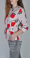 Женская блузка цветочный принт маки