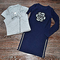 Модное детское платье с жилетом для девочки (128-146р)