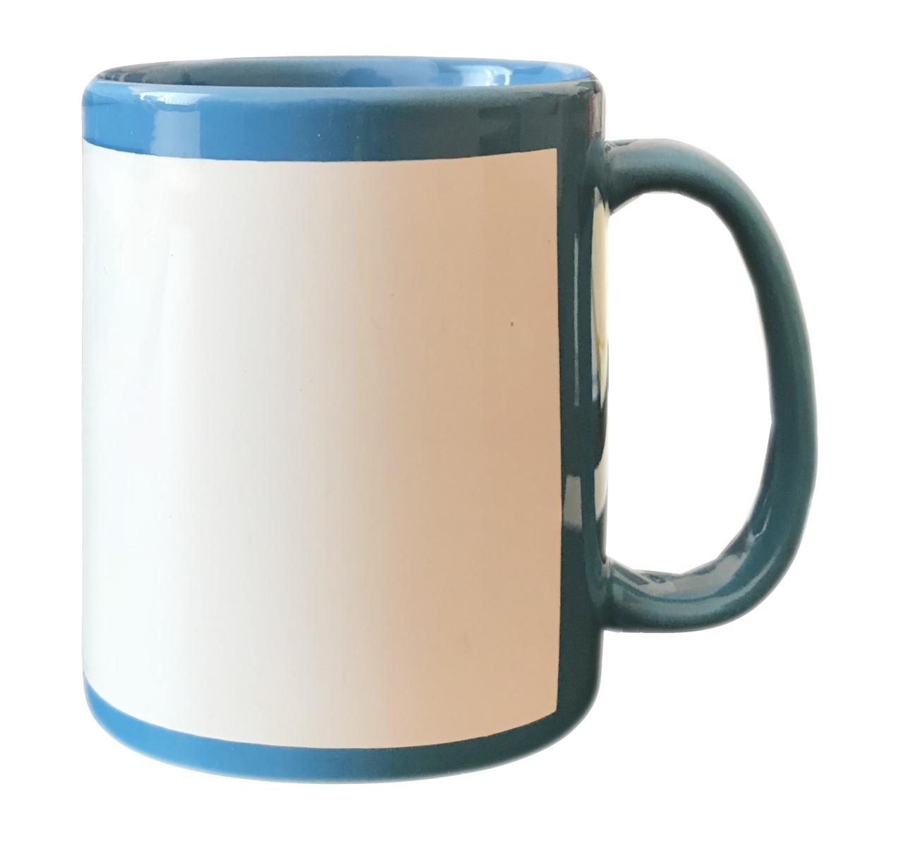Кружка светло голубая с белым полем для печати