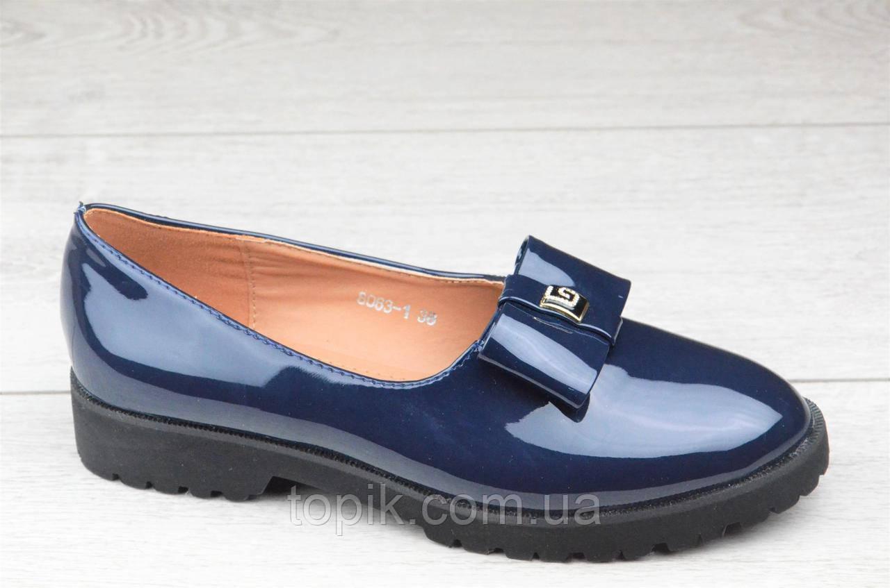 Туфли женские темно синие стильные элегантные лакированые (Код: 1092)