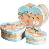 Подарочные коробки 3 шт. Мишка из Лондона 0647J /сraft