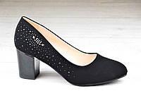 Туфли женские на каблуке черные стильные, популярные и практичные (Код: 1098)