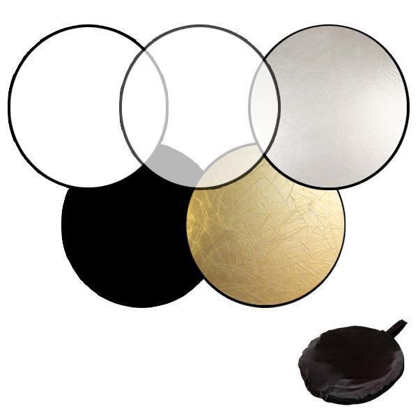 Отражатель 5 в 1 (80см) Белый/Золото/Серебро/Черный/ Рассеиватель