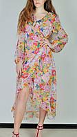 Платье-халат на запах цветочный принт