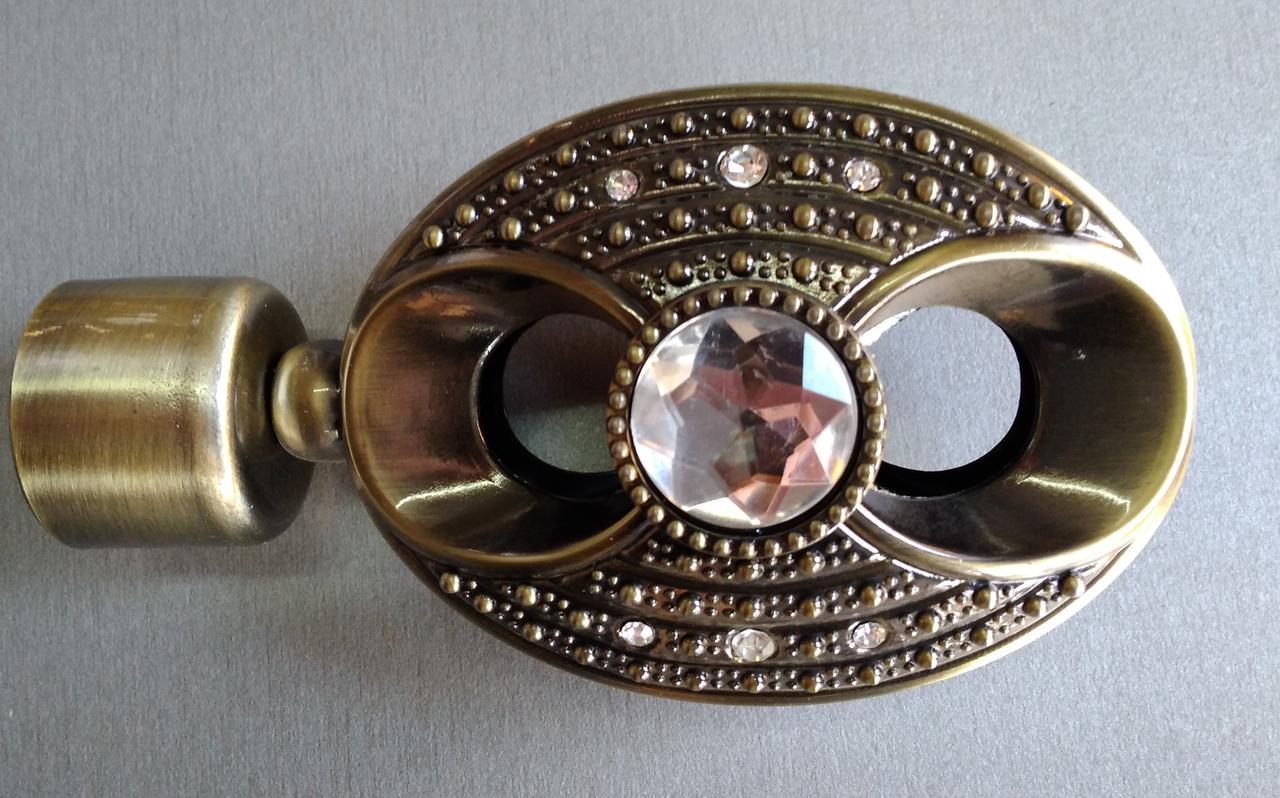 Сова с кристаллом д. 25 мм, антик