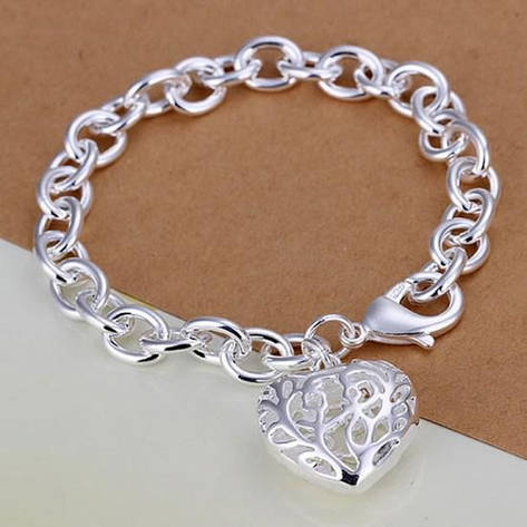"""Браслет женский на руку с покрытием серебро """"Ажурное сердце"""", фото 2"""