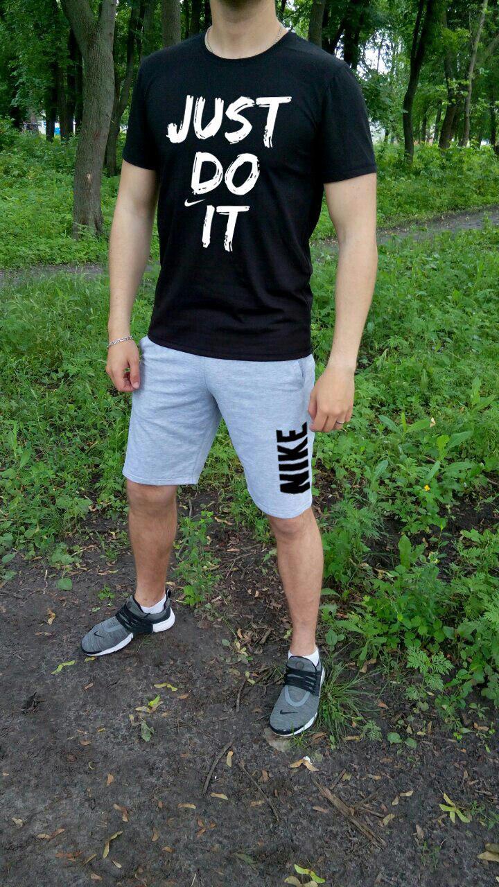 Мужской комплект футболка + шорты Nike черного и серого цвета (люкс копия)