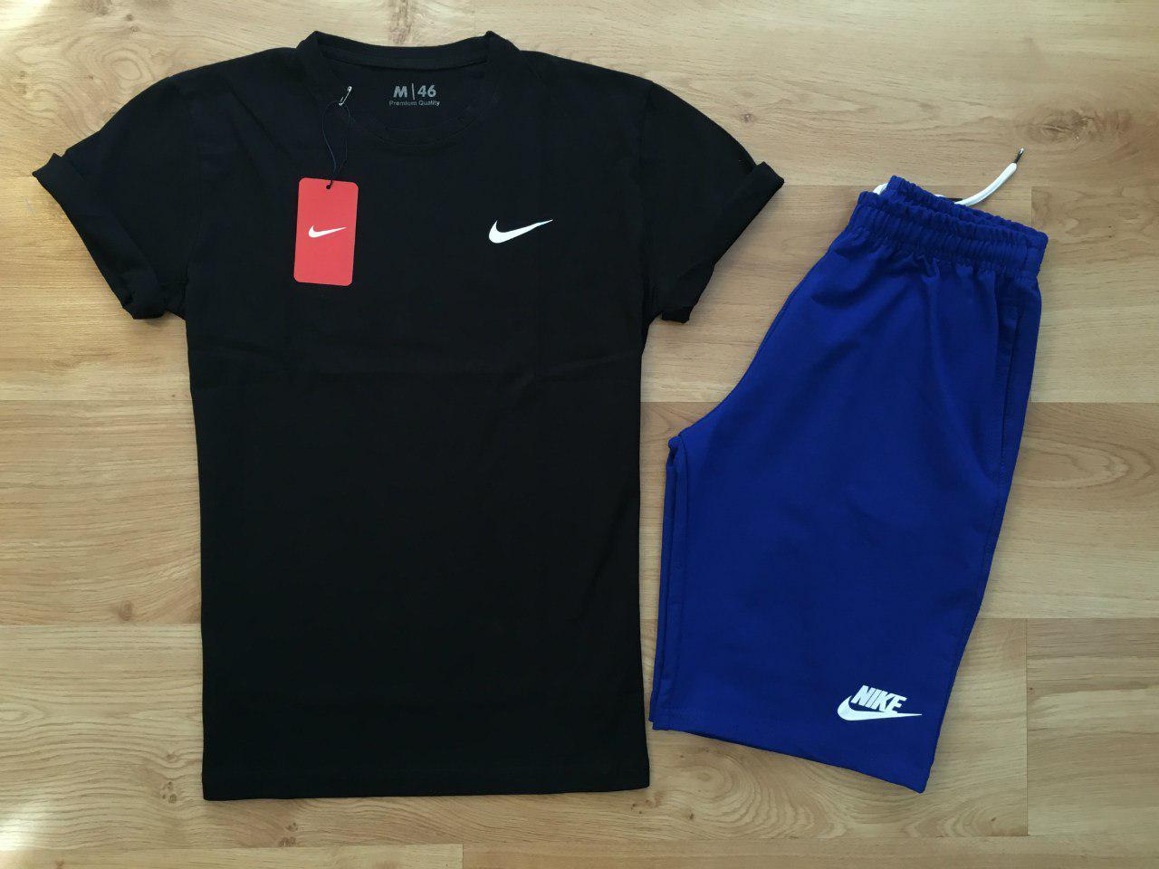 Мужской комплект футболка + шорты Nike черного и синего цвета (люкс копия)