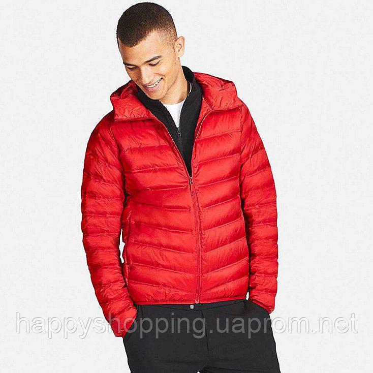 0377333a3d6dbf3 Мужская легкая красная куртка с капюшоном на пуху Uniqlo : продажа ...
