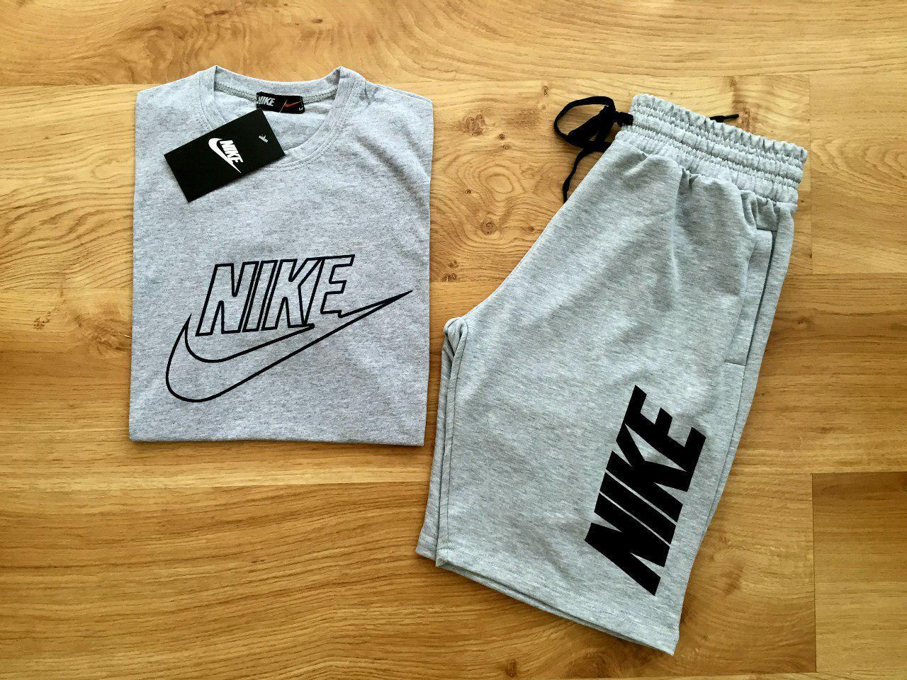 Мужской комплект футболка + шорты Nike серого цвета (люкс копия)