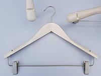 """Плечики комиссионные деревянные костюмные белые в дизайне """"под старину"""", 38 см"""