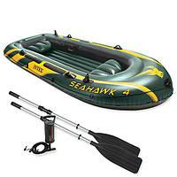 Четырехместная надувная лодка Intex + алюминиевые весла и ручной насос SeaHawk 4 Set 351x145x48 cм (68351)