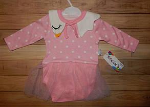Детское боди-платье для девочки Стайл 0-9 мес