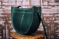Кожаная женская сумка кросс-боди Luna | Винтажный Изумруд