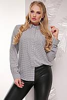 Женская классическая рубашка в клетку с одним карманом, длинный рукав, серая
