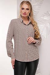 Женская классическая рубашка в клетку с одним карманом, длинный рукав, бежевая