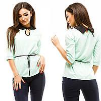 Женская блуза из бенгалина с контрастным отложным воротничком