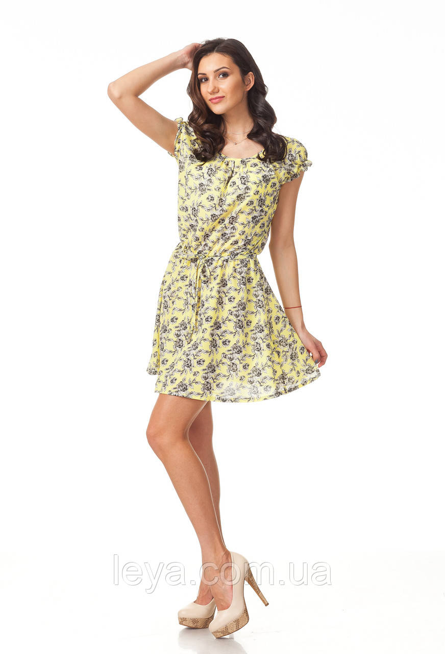 Летнее желтое платье до колена. Модель П065_желтый цветочек.