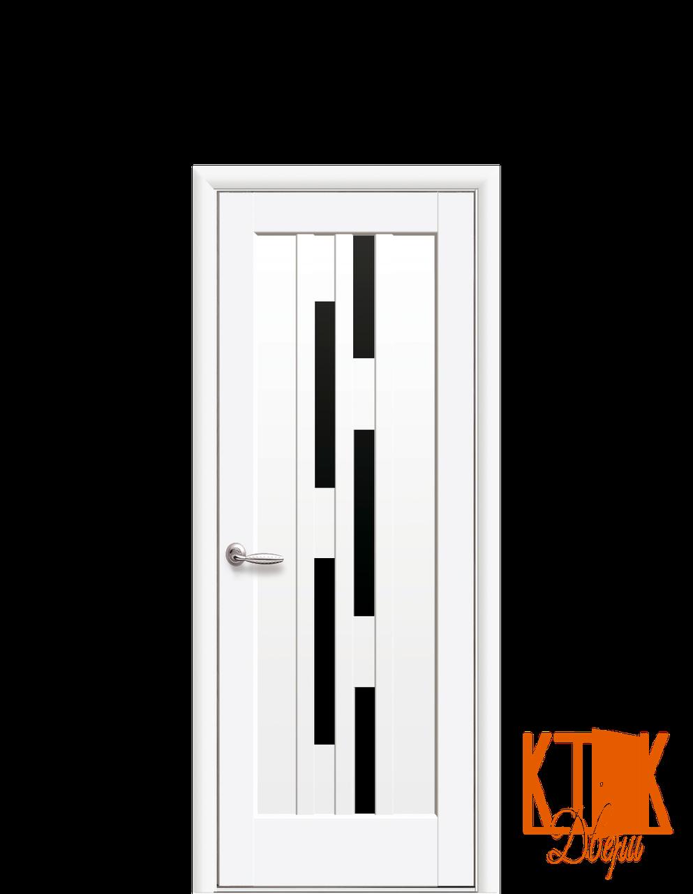 Міжкімнатні двері Новий Стиль Лаура чорне скло (матовий білий)