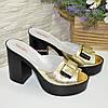 Сабо кожаные женские на устойчивом каблуке, цвет золото, фото 4