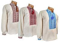 Чоловіча вишивана із льону на довгий рукав із козацьким орнаментом