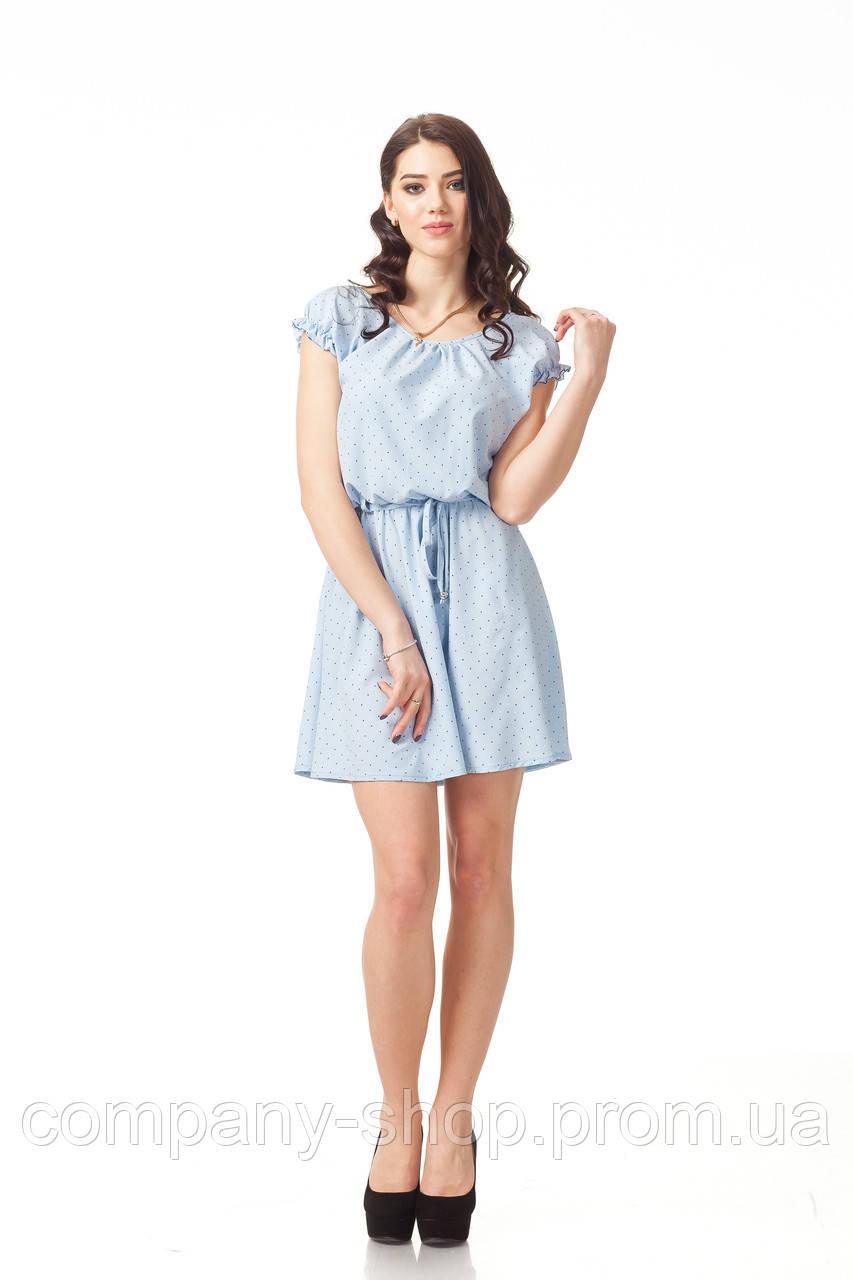 bcdef175d57 Летнее синее платье до колена. Модель П065 голубое сердечко. S