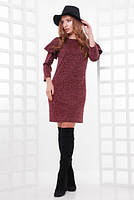 Красивое платье Рита 46-48 размер женское свободное бордовое весеннее деловое повседневное из ангоры