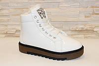 Ботинки зимние женские белые с камнями С609 р 38