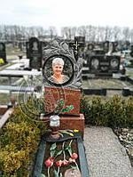 Памятник с тюльпанами и круглой фотокерамикой №5