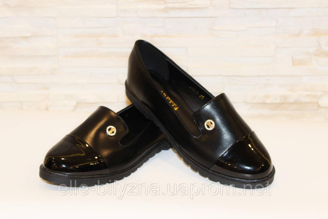 Туфли женские черные лаковый носок Т885 р 37 38 39 40