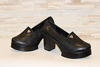 Туфли женские черные на каблуке Т892 р 37 38, фото 1