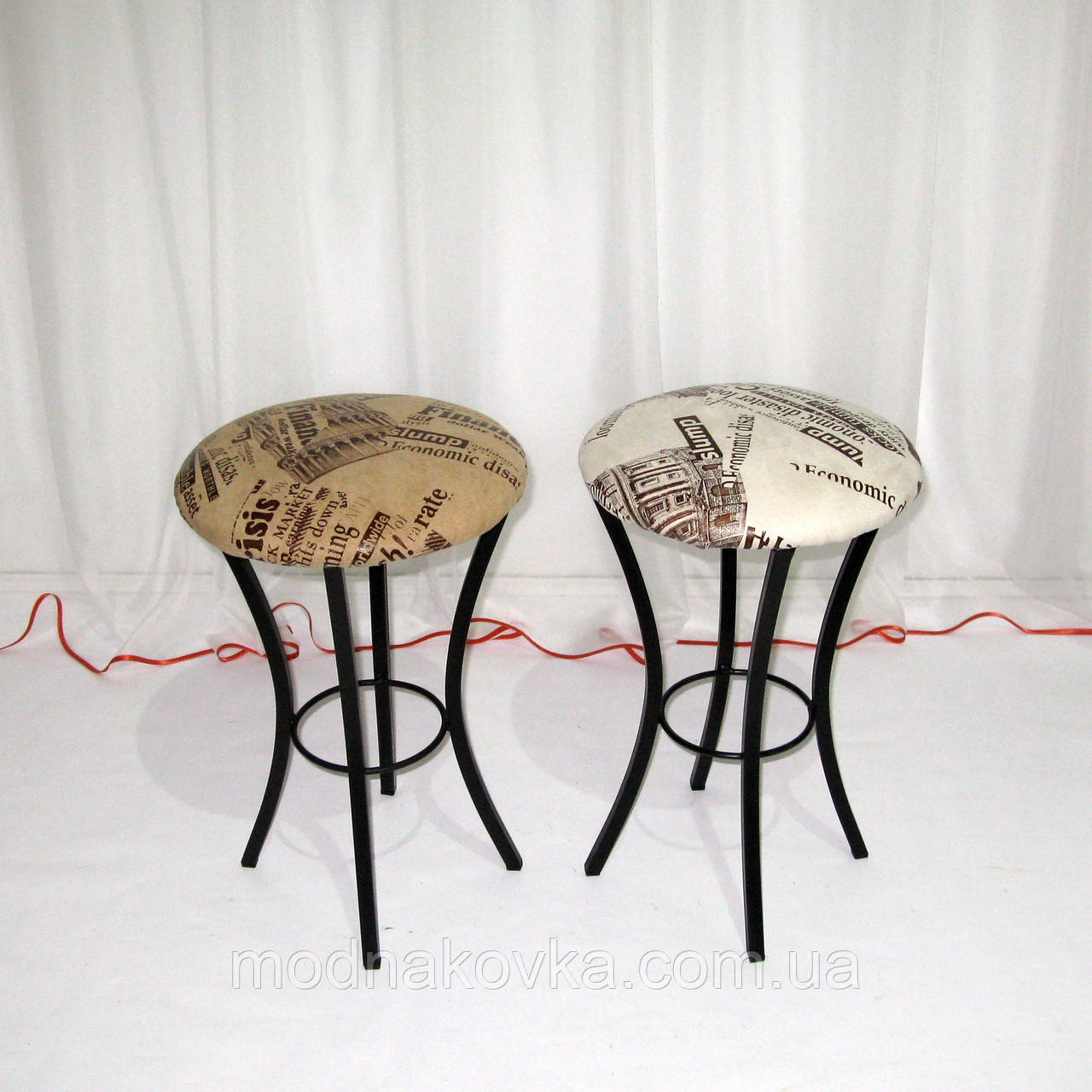 Металлический кухонный табурет, кофейный кожзам рисунок