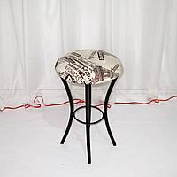 Металлический кухонный табурет, светлый кожзам рисунок, фото 1