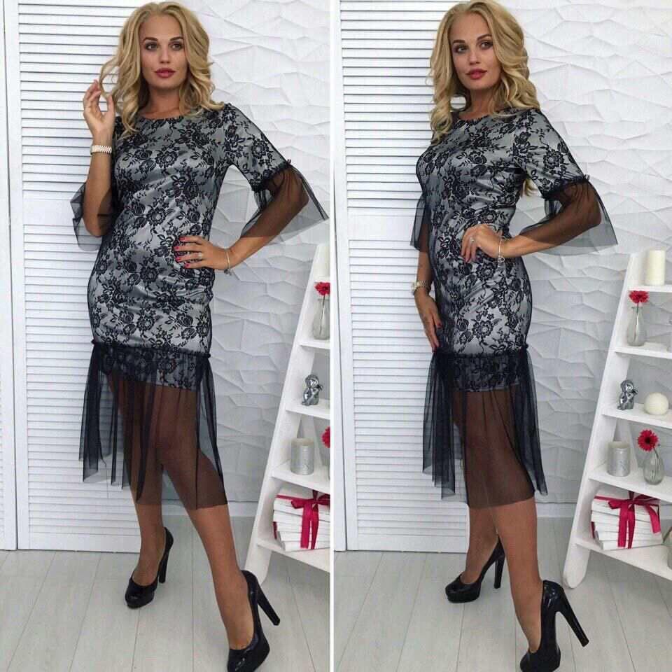 """Шикарное женское платье ткань """"Набивной гипюр на атласе"""" 48, 50 размер батал"""