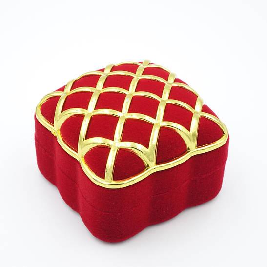 """Футляр под кольцо """"Золотая сетка"""" красный"""