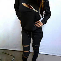 Спортивний костюм жіночий з замочками чорний