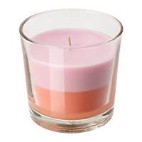 """ИКЕА """"СОММАР 2018"""" Ароматическая свеча в стакане, светло-розовый, оранжевый, фото 1"""