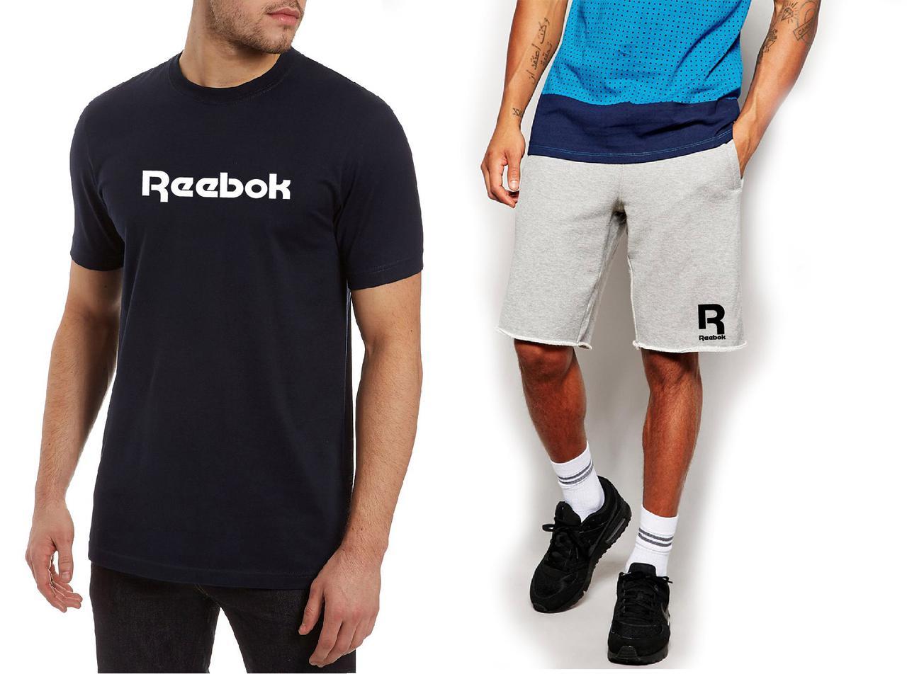 76ceac433098 Мужской комплект футболка + шорты Reebok черного и серого цвета (люкс копия)