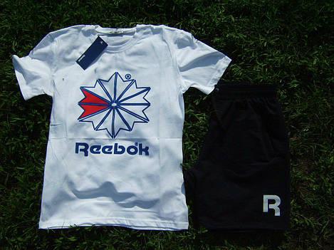 90e851b8614e Мужской комплект футболка + шорты Reebok белого и черного цвета
